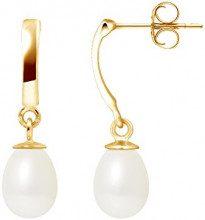 Pearls & Colors PC-9BOC136-GO - Orecchini pendenti, in oro giallo 9 kt, con perle d'acqua dolce, AM-9BOC 136 P6J-WH