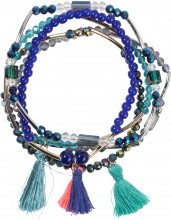Set di bracciali con nappine e perle (set 5 pezzi)