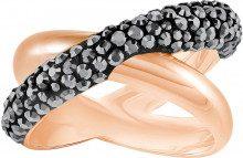Anello Crystaldust Cross, nero, placcato oro rosa