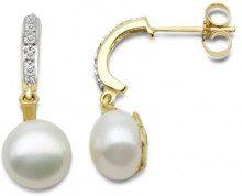 MIORE - Orecchini pendenti da donna con diamante (0,063 ct), oro giallo 9k (375), cod. SA915E