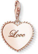 Thomas Sabo Charm Club Ciondolo da Donna, Argento 925, Placcatura d'Oro Rosa, Cuore, Love