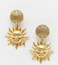 Arlana - Orecchini appariscenti a clip con sole placcati oro