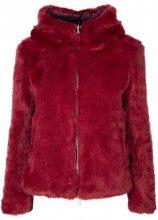Eco-pelliccia reversibile rossa con cappuccio 326