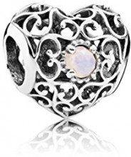 Pandora Charm Cuore da donna in argento 925–791784, argento, colore: Rosa (Oktober), cod. 791784NOP