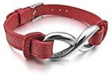 MENDINO - Cinturino da orologio, da uomo, con simbolo dell'infinito in acciaio inossidabile, in vera pelle rossa