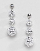 Orecchini natalizi argento con sfere stile discoteca