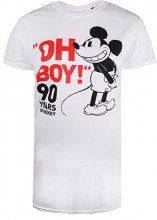 Disney Mickey Mouse-Oh Boy, T-Shirt Donna, Bianco White, 44 (Taglia Produttore: Medium)