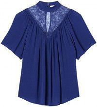FIND Blusa a Maniche Corte Donna , Blu (French Blue), 40 (Taglia Produttore: X-Small)