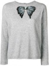 - Blugirl - sequinned bow tied jumper - women - lana/cashmere - 44, 46 - di colore grigio