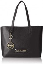 Love Moschino Borsa Vitello Pebble Grain - Borse Tote Donna, Nero, 14x26x40 cm (B x H T)