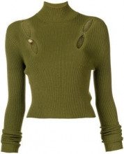 - Versus - cut out ribbed turtleneck sweater - women - fibra sintetica - 42, 44 - di colore verde