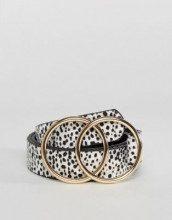 ASOS Leopard - Cintura da portare in vita o sui fianchi con doppio anello