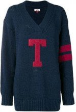 - Tommy Jeans - T logo oversized jumper - women - lana/acrilico - M, L, XS , S - di colore blu