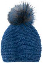 - Liska - pom pom knit beanie - women - lana/pelliccia di volpe - Taglia Unica - di colore blu