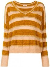 - Twin - Set - striped V - neck sweater - women - fibra sintetica/metallo/acrilico/fibra sinteticamohair - M, S - color carne