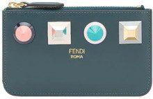 - Fendi - geometric stud coin pouch - women - fibra sintetica/pelle di vitello/cotone - Taglia Unica - di colore blu