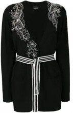 - Ermanno Ermanno - Cardigan con cintura - women - fibra sintetica - 40, 42, 44, 38 - di colore nero