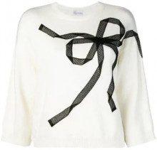 - Red Valentino - bow knit jumper - women - fibra sintetica/cashmere/angora/lanafibra sintetica - M - di colore bianco