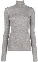 - Pinko - button - detail turtleneck sweater - women - lana - S, L, XS - di colore grigio