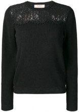 - Twin - Set - Maglione con pannello in pizzo - women - cashmere/lana/fibra sintetica - L, XS , S - di colore nero