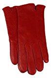 Messori Premium da donna guanti in pelle con Kashmir cotone imbottite, rosso 40