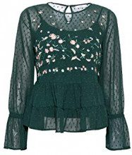 edc by Esprit 108cc1f006, Camicia Donna, Verde (Bottle Green 385), X-Large