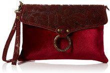 Joe Browns Mistero Leather And Velvet Bag - Borse a spalla Donna, Rosso (Red), 3x31x21 cm (W x H L)