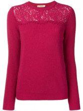 - Twin - Set - Maglione con pannello in pizzo - women - fibra sintetica/cashmere/lana - XS - di colore rosa