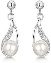 Just Jo Donna 925 argento Rotonda Rotonda perla cinesa da coltivazione bianco Perla Zirconia cubica FINEEARRING