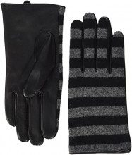 PIECES Pcjunilla Leather Wool Glove, Guanti Donna, Nero (Black Stripes:Mgrm Stripes), Large