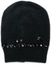 - Pinko - embellished knit beanie - women - glass/fibra sintetica/acrilico/fibra sinteticafibra sinteticaottonelana - Taglia Unica - di colore nero