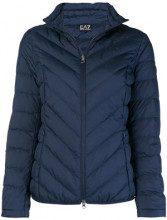 - Ea7 Emporio Armani - zipped puffer jacket - women - fibra sintetica/piuma d'oca - XS , XL, S - di colore blu