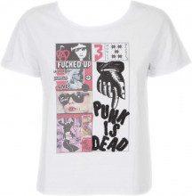 T-shirt Mediana con grafica PUNK IS DEAD WHITE