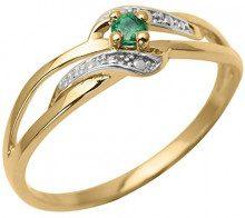 Anello in oro bicolore, 9 kt, con smeraldo, 9K1713E, 14, cod. 9K1713E-54