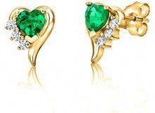 ByJoy Orecchini Donna Cuore a Lobo Piccoli con Smeraldo in Argento 925 Placcato Oro