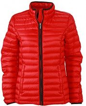 James & Nicholson - Daunenjacke Ladies Quilted Down Jacket, Giacca Donna, Rosso (Red/Black), Small (Taglia Produttore: Small)