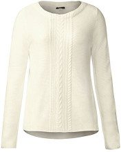 Street One Pullover with Cable Structure Mix, Felpa Donna, Weiß (Off White 10108), 44 (Taglia produttore: 38)