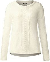 Street One Pullover with Cable Structure Mix, Felpa Donna, Weiß (Off White 10108), 42 (Taglia produttore: 36)