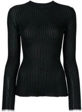 - Proenza Schouler - Long Sleeve Ribbed Crewneck - women - fibra sintetica - M - di colore nero
