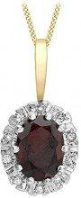 Carissima Gold Collana con Pendente da Donna in Oro Giallo 9K con Diamante e Granato, 0.06ct, 46 cm