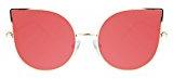 SojoS Cat occhio lenti a specchio piatto ultra sottile donne Ultra Light struttura in metallo occhiali da sole SJ1022