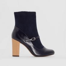 Boots in pelle con tacco in legno