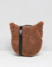 Borsa a tracolla in pelle sintetica marrone con gatto