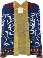 - Miahatami - floral embroidered cardigan - women - fibra sintetica - 44 - di colore blu