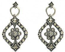 Esse Marcasite–Orecchini da donna con pendenti, in argento Sterling 925 e pavé Art Nouveau