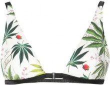 - Fleur Du Mal - palm print georgette bra - women - fibra sintetica/seta - XS , S, M, L - di colore verde