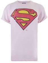 DC Comics Superman Distressed, T-Shirt Donna, (Light Pink Ltpk), 42