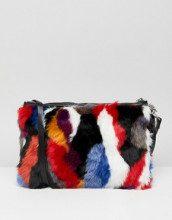 Borsa da spalla in pelliccia sintetica multicolore