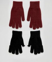 Confezine da 2 paia di guanti neri e bordeaux
