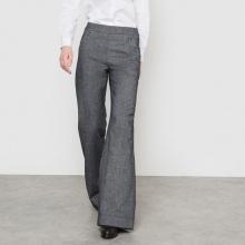 Pantaloni larghi a ponte effetto flanella